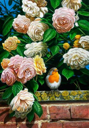 1247 Over the garden wall robin and roses